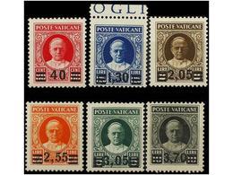 ** VATICANO. Yv.60/65. 1934. SERIE COMPLETA. LUJO. Cert. E. DIENA. - Stamps
