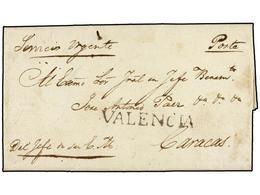 VENEZUELA. 1824 (19 Diciembre). VALENCIA A CARACAS. Carta Completa Dirigida Al General En Jefe Jose Antonio Paez (poster - Briefmarken