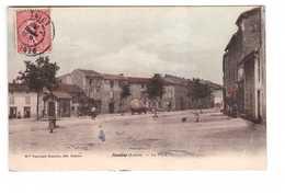 42 Neulise La Place Cpa Carte Animée Colorisée écrite En 1907 - Autres Communes