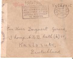 """Lettre """"VELDPOST"""" Antwerpen 6 Du 29/1/1940 V/Militaire KARLSRUHE (All.) Censure """"c"""" De Cologne - Weltkrieg 1939-45"""