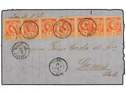 HAITI. Sc.1 (7). 1883. JACMEL A GÉNOVA (Italia). 1 Cto. Rojo, Pareja Y Tira De Cinco, Mat. Fechador De Jacmel. La Tarifa - Stamps