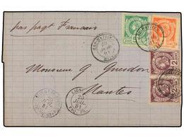 HAITI. Sc.1 + 2 (2), 4. 1881 (20 Julio). CAP HAITIEN A FRANCIA. 1 Cto. Rojo, 2 Cts. Violeta (2) Y 5 Cts. Verde, Mat. CAP - Stamps