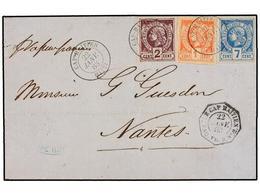 HAITI. Sc.1, 2, 5. 1883. CAP HAITIEN A FRANCIA. 1 Cent. Rojo, 2 Cts. Violeta Y 7 Cents. Azul, Mat. CAP. HAITIEN/HAITI Y  - Stamps