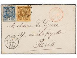 HAITI. Sc.3, 5. 1882. CAP HAITIEN A PARÍS. 3 Cents. Castaño Y 7 Cents. Azul, Mat. CAP. HAITIEN/HAITI Y Fechador Marítimo - Sin Clasificación