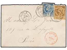 HAITI. Sc.3, 5. 1883. Sobre Circulado A PARÍS. 3 Cents. Castaño Y 7 Cts. Azul (sellos Remarginados Por Motivos Estéticos - Sin Clasificación
