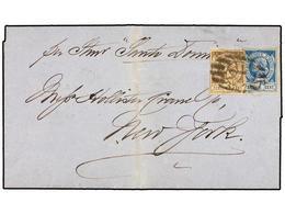 HAITI. Sc.3, 5. 1883. CAP HAITIEN A NEW YORK. 3 Cents. Castaño Y 7 Cents. Azul. Carta Depositada Directamente Al Steamer - Sin Clasificación
