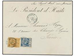 HAITI. Sc.3, 5. 1882 (23 Diciembre). PORT AU PRINCE A PARÍS. 3 Cents. Castaño Y 7 Cents. Azul, Mat. Fechador De PORT AU  - Sin Clasificación