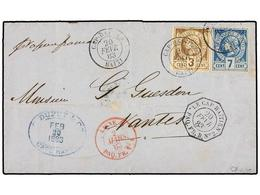 HAITI. Sc.3, 5. 1883. CAP HAITIEN A NANTES (Francia). 3 Cents. Castaño Y 7 Cts. Azul, Mat. CAP HAITIEN/HAITI Y Fechador  - Stamps