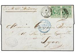 HAITI. Sc.4 (2). 1883. PORT AU PRINCE A LYON Y Reexpedida A TARARE. 5 Cents. Verde Pareja, Mat. PORT AU PRINCE/HAITI Cir - Sin Clasificación