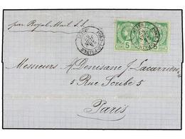 HAITI. Sc.4 (2). 1882. PORT AU PRINCE A PARÍS. 5 Cents. Verde, Pareja, Mat. PORT AU PRINCE/HAITI Circulada Por La Royal  - Stamps