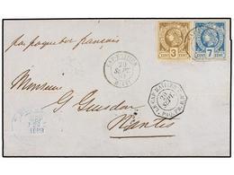 HAITI. Sc.5, 9. 1883. CAP HAITIEN A NANTES. 3 Cents. Castaño, Perf. Y 7 Cts. Azul, Mat. CAP HAITIEN/HAITI Y Fechador Oct - Sin Clasificación