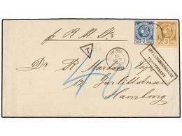 HAITI. Sc.5, 9. 1885. JACMEL A HAMBURG (Alemania). 3 Cents. Castaño Perf. Y 7 Cent. Azul, Mat. JACMEL/HAITI. Marca AFFRA - Sin Clasificación