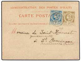 HAITI. Sc.5, 9. 1885. CAP HAITIEN A STO. DOMINGO. Tarjeta Postal Oficial Con Franqueo De 3 Cents. Castaño Perforado Y 7  - Sin Clasificación