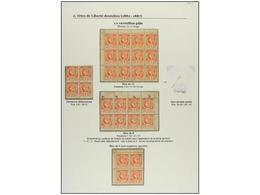 **/* HAITI. Sc.7 (28). 1882. 1 Cto. Vermellón. Página De Album Con Dos Bloques De Cuatro, Un Bloque De Ocho Y Un Bloque  - Sin Clasificación