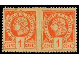 ° HAITI. Sc.7. 1882. 1 Cto. Vermellón. Pareja Horizontal SIN DENTAR EN MEDIO, Leves Adelgazamientos. Rara No Reseñada En - Sin Clasificación