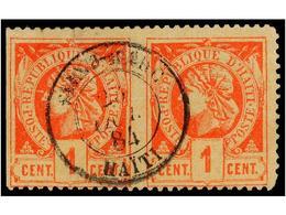 ° HAITI. Sc.7. 1882. 1 Cto. Vermellón. Pareja SIN DENTAR EN MEDIO, Sello De La Derecha Dentado Vertical Cortado A Tijera - Sin Clasificación