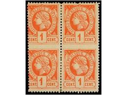 * HAITI. Sc.7a. 1882. 1 Cto. Vermellón. Bloque De Cuatro SIN DENTAR EN MEDIO Y VARIEDAD DE PERFORACIÓN En El Margen Izqu - Sin Clasificación