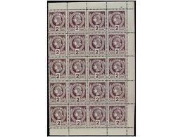 **/* HAITI. Sc.8. 1885. 2 Cts. Violeta, Pl. II 2º Tiraje. Bloque De 20 Sellos Parte Derecha Marginal De La Hoja. MAGNÍFI - Sin Clasificación