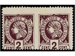 * HAITI. Sc.8c. 1885. 2 Cts. Violeta, Pl. II, 2º Tiraje. Pareja Horizontal SIN DENTAR EN MEDIO. RARA. Cert. B. MOORSHOUS - Sin Clasificación