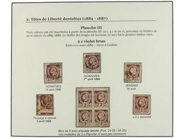 */° HAITI. Sc.8d (9). 1885. 2 Cts. Violeta, Pl. III. Cuatro Sellos En Usado, Uno Con El DENTADO DESPLAZADO Y Un Bloque D - Sin Clasificación