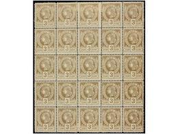 **/* HAITI. Sc.9. 1883. 3 Cts. Castaño, Pl. II 1er Tiraje. Bloque De 25 Sellos. MAGNÍFICO Y MUY RARO. Segundo Bloque Más - Sin Clasificación