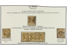 ° HAITI. Sc.9 (6). 1882. 3 Cts. Bistre, Tres Sellos Con Interesantes Matasellos Y Una Tira De Tres. - Sin Clasificación
