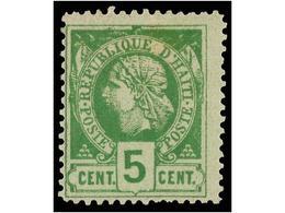 * HAITI. Sc.10. 1882. 5 Cts. Verde, Pl. II Primera Impresión. Sello Rarísimo En Nuevo Del Que No Se Conocen Múltiples. C - Sin Clasificación