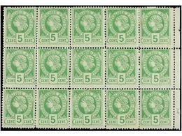 **/* HAITI. Sc.10 (15). 1883. 5 Cents. Verde, Pl. II, 2ª Tirada. Bloque De Quince. Algún Leve Pliegue. MAGNÍFICO Y MUY R - Sin Clasificación