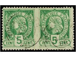 ° HAITI. Sc.10c. 1885. 5 Cts. Verde, Pl. III. Pareja Horizontal SIN DENTAR EN MEDIO, Mat. PORT AU PRINCE/HAITI. RARA. Ce - Sin Clasificación