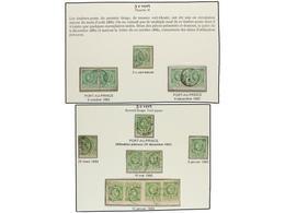 ° HAITI. Sc.10 (14). 1882-83. 5 Cts. Verde, Pl. II, 1ª Tirada, Sello Y Dos Parejas. Pl. II, 2ª Tirada, 3 Sellos, Pareja  - Sin Clasificación