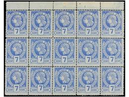**/* HAITI. Sc.12. 1885. 7 Cents. Ultramar, Pl. II, 2ª Tirada. Bloque De Quince. Segundo Bloque Más Grande Conocido (exi - Sin Clasificación
