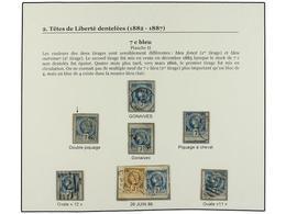 °/ HAITI. 1882. 7 Cts. Azul. Conjunto De 6 Sellos Y Un Fragmento. - Sin Clasificación