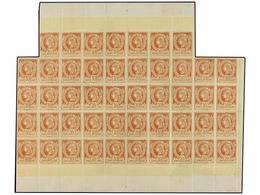 **/* HAITI. Sc.13. 1886. 20 Cts. Castaño Claro, Pl. III. Bloque De 47 Ejemplares (consolidado En Algunas Partes). EXCEPC - Sin Clasificación