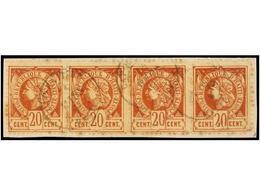 °/ HAITI. Sc.13 (8). 1884. 20 Cts. Castaño. Cuatro Sellos (dos Con Doble Dentado Vertical) Y Una Tira De Cuatro Sobre Fr - Sin Clasificación