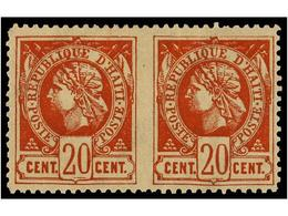 * HAITI. Sc.13b. 1884. 20 Cts. Castaño Rojo. Pareja Horizontal SIN DENTAR EN MEDIO. MAGNÍFICA Y RARA. - Sin Clasificación