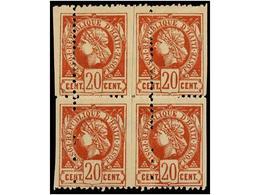 ° HAITI. Sc.13b (4). 1884. 20 Cts. Castaño Rojo. Bloque De Cuatro (dos Parejas Verticales Rejuntadas) DENTADO VERTICAL D - Sin Clasificación