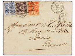 HAITI. Sc.8d, 12, 18. 1887. CAP HAITIEN A FRANCIA. 1 Cto. Rojo (nuevas Planchas 1886), 2 Cts. Violeta (plancha III) Y 7  - Sin Clasificación