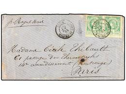 HAITI. Sc.10 (2). 1882. PORT AU PRINCE A PARÍS. 5 Cents. Verde (2) Pl. II, 1ª Tirada. Mat. PORT-AU-PRINCE/HAITI. - Sin Clasificación