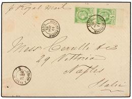 HAITI. Sc.10 (2). 1883 (10 Diciembre). PORT AU PRINCE A NÁPOLES (Italia). 5 Cts. Verde, Pl. II, 2ª Tirada, Mat. PORT-AU- - Sin Clasificación