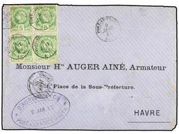 HAITI. Sc.10 (4). 1885. PORT AU PRINCE A LE HAVRE (Francia). 5 Cts. Verde, Pl. II, 2ª Tirada. Bloque De Cuatro, Mat. POR - Sin Clasificación