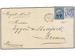 HAITI. Sc.12, 23. 1889. PORT AU PRINCE A BREMEN (Alemania). 7 Cts. Ultramar Y 3 Cts. Azul De La Emisión De Salomón, Mat. - Sin Clasificación