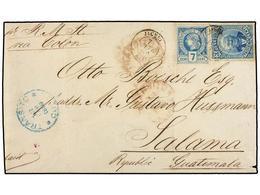 HAITI. Sc.11, 23. 1889. JACMEL A SALAMA (Guatemala). 7 Cent. Azul Y 3 Cts. Azul De La Emisión De Salomón, Mat. JACMEL/HA - Sin Clasificación