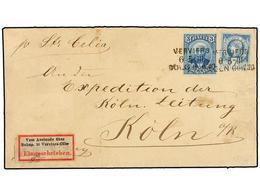 HAITI. Sc.12, 23. (1888 CA.). LES CAYES A KÖLN (Alemania). Carta Depositada Directamente En El Buque Alemán 'Celia' Circ - Sin Clasificación