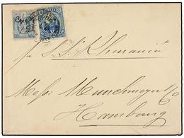 HAITI. Sc.12, 23. 1888. CAP HAITIEN A HAMBURGO (Alemania). 7 Cents. Azul Y 3 Cts. Azul De La Emisión De Salomón, Mat. Ma - Sin Clasificación