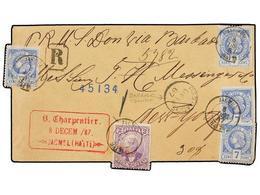 HAITI. Sc.12 (4), 22. 1887. JACMEL A NEW YORK. 7 Cts. Ultramar (4) Y 2 Cts. Malva De La Emisión De Salomón, Mat. JACMEL/ - Sin Clasificación