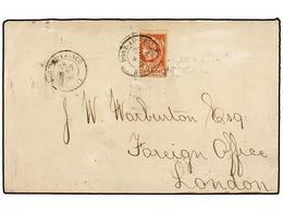HAITI. Sc.13. 1885. PORT AU PRINCE A LONDON. 20 Cts. Castaño DENTADO IZQUIERDO DESPLAZADO, Mat. PORT AU PRINCE/HAITI. Do - Sin Clasificación