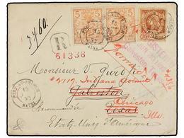 HAITI. Sc.13, 29 (2). 1893. PORT AU PRINCE A TEXAS Y Reexpedida A CHICAGO. 20 Cts. Castaño Claro, Pl. III Y 5 Cts. Naran - Sin Clasificación