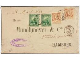 HAITI. Sc.13 (2), 24 (2). 1888. LES CAYES A HAMBURGO (Alemania). 20 Cts. Castaño Claro (2) Y 5 Cts. Verde (2) De La Emis - Sin Clasificación