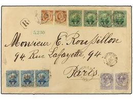 HAITI. Sc.13 (2), 22 (2), 24 (4), 25 (3). 1890. PORT AU PRINCE A PARÍS. Carta Certificada Con Franqueo De 2 Cts. Violeta - Sin Clasificación