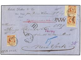 HAITI. Sc.13 (3). 1894. PORT AU PRINCE A NEW YORK. 20 Cts. Castaño Claro (3). Carta Certificada. Raro Franqueo De Cinco  - Sin Clasificación
